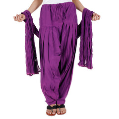 Semi Patiala Bottom And Dupatta With Side Pockets From eSTYLe In Wine Shade