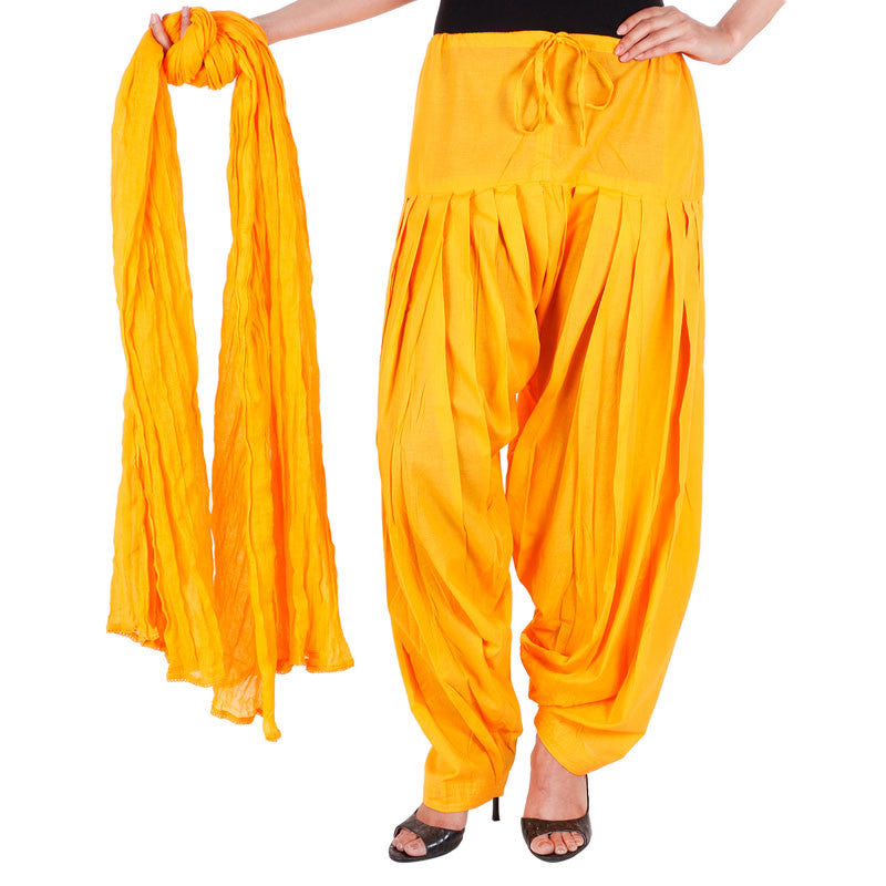 100% Cotton Blazing Yellow Semi Patiala Bottom And Dupatta With Side Pockets