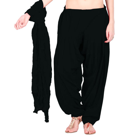 Premium Black Colour Semi Patiala Bottom & Cotton Duppata With Side Pockets