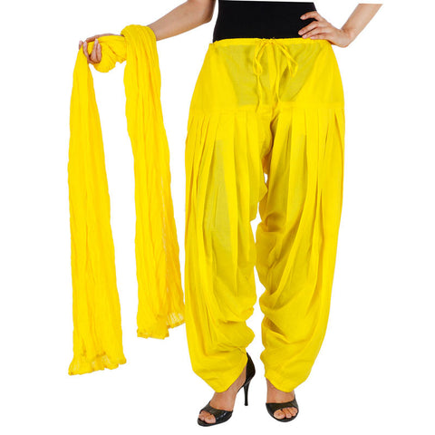 Aspen Gold Colour Semi Patiala Bottom And Dupatta With Side Pockets From eSTYLe