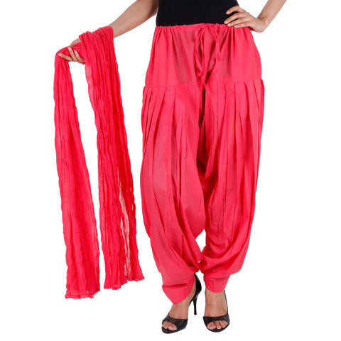 Bright Pink Colour Semi Patiala Bottom With Dupatta From eSTYLe