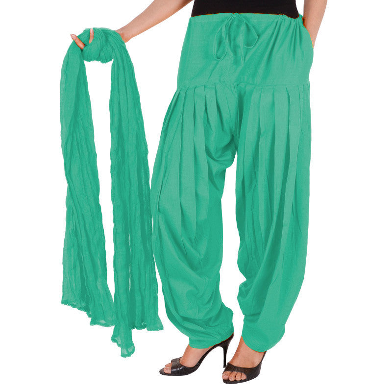 100% Cotton Peacock Green Semi Patiala Bottom With Dupatta