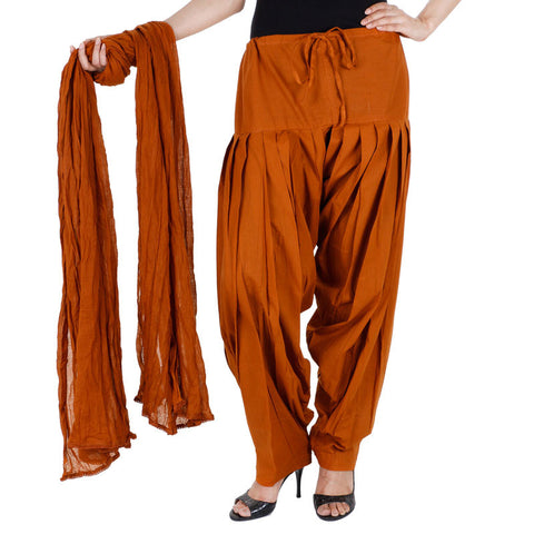 Light Brown Colour Semi Patiala Bottom & Dupatta With Side Pockets From eSTYLe
