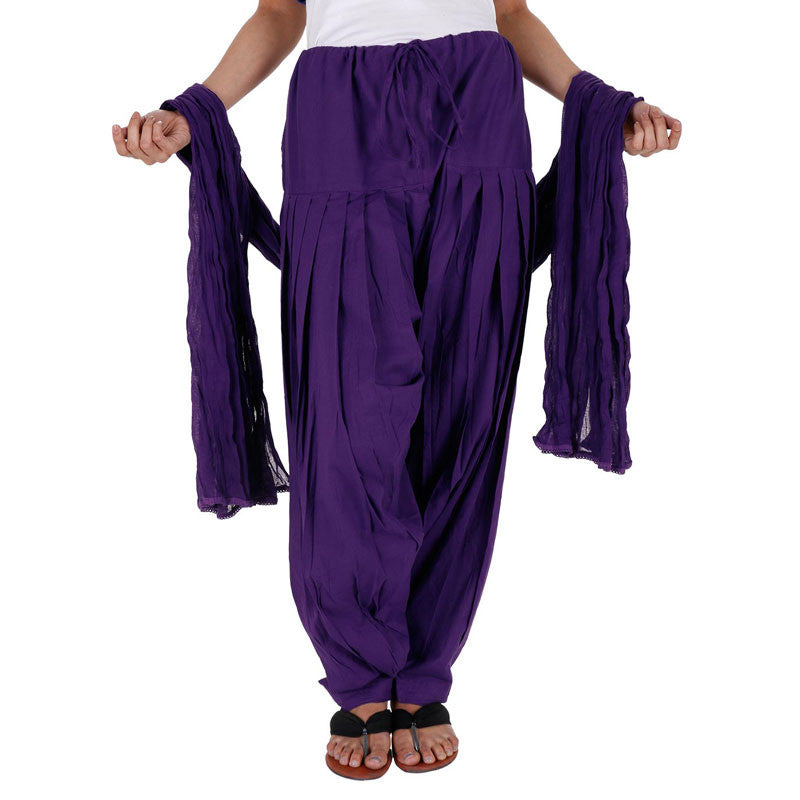 eSTYLe 100% Cotton Bright Violet Patiala Bottom With Dupatta