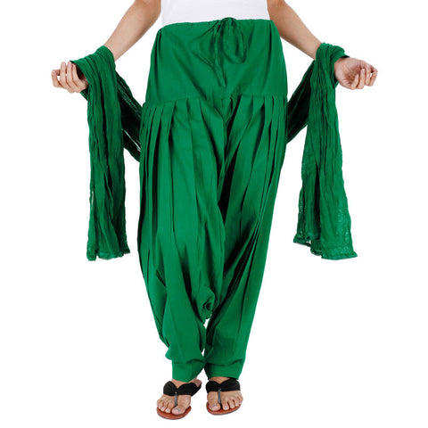 100% Cotton Magestic Green Patiala Bottom With Dupatta