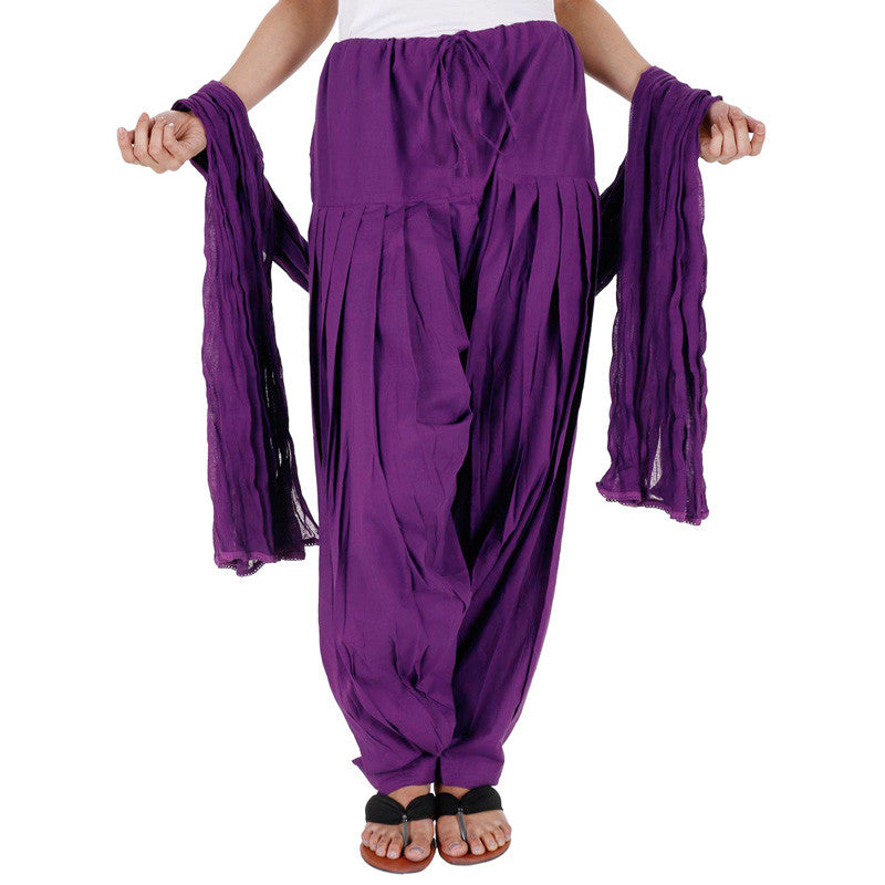 eSTYLe 100% Cotton Violet Patiala Bottom With Dupatta