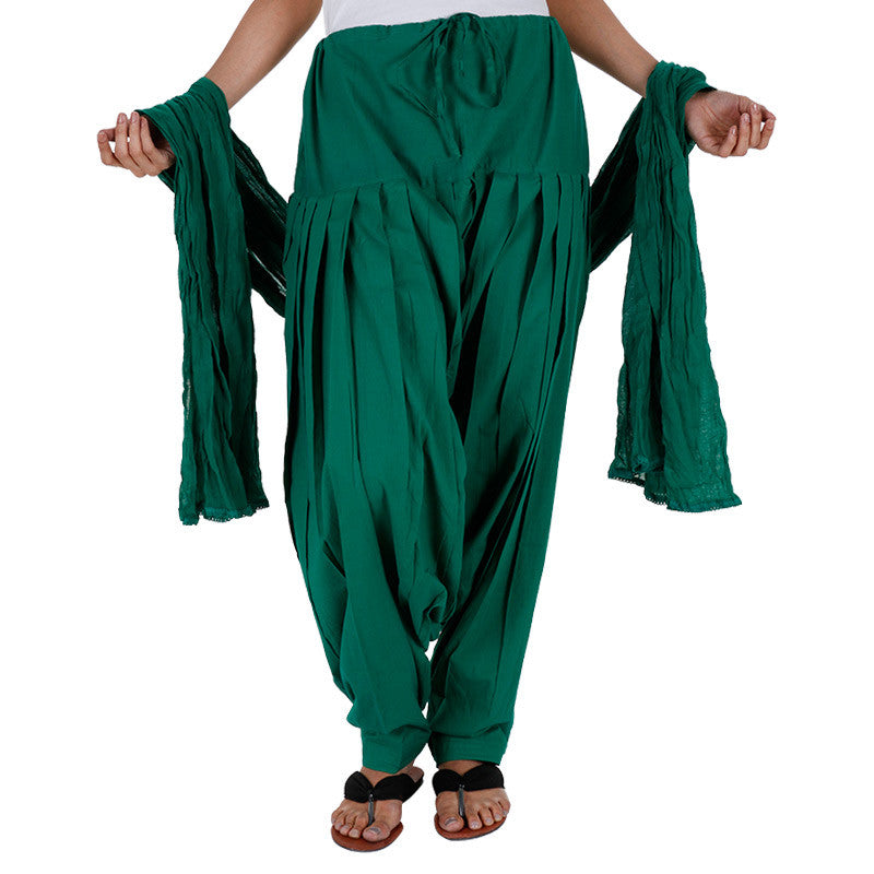 Dark Green Semi Patiala Bottom And Dupatta With Side Pockets From eSTYLe