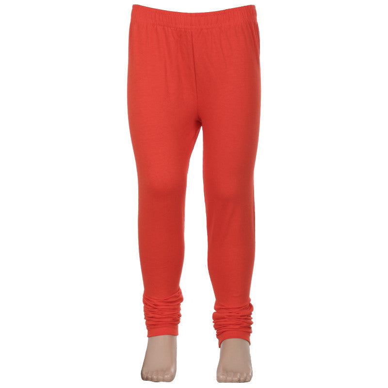 Cherry Tomato Super Rich Finish Lycra Cotton Kids Leggings From eSTYLe Girls