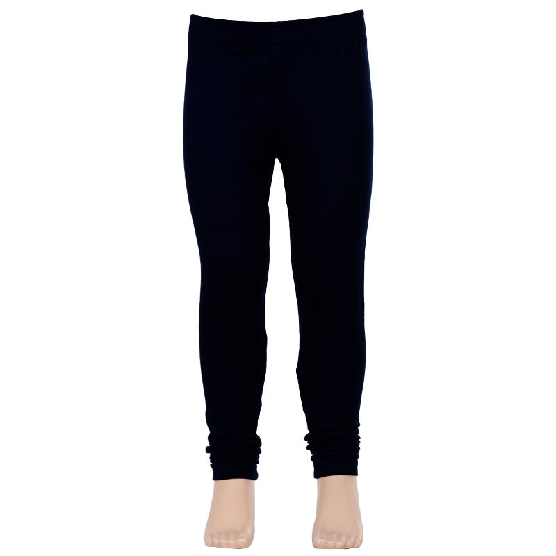 Black Super Rich Finish Cotton Lycra Leggings For Kids from eSTYLe Girls