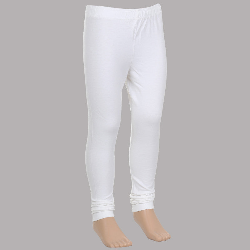 Cloud Dancer White Super Rich Finish Lycra Cotton Kids Leggings From eSTYLe Girls
