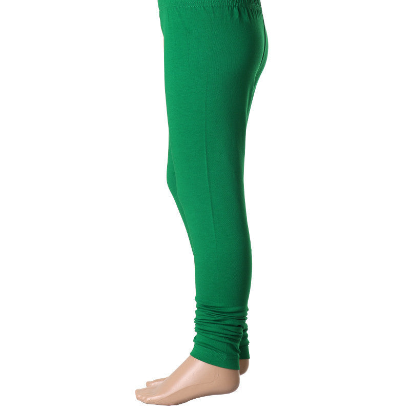 Kids Fern Green Super Rich Finish Cotton Lycra Leggings From eSTYLe Girls