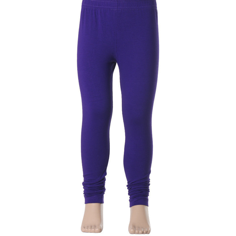 Kids Dazzling Blue Super Rich Finish Cotton Lycra Leggings from eSTYLe Girls