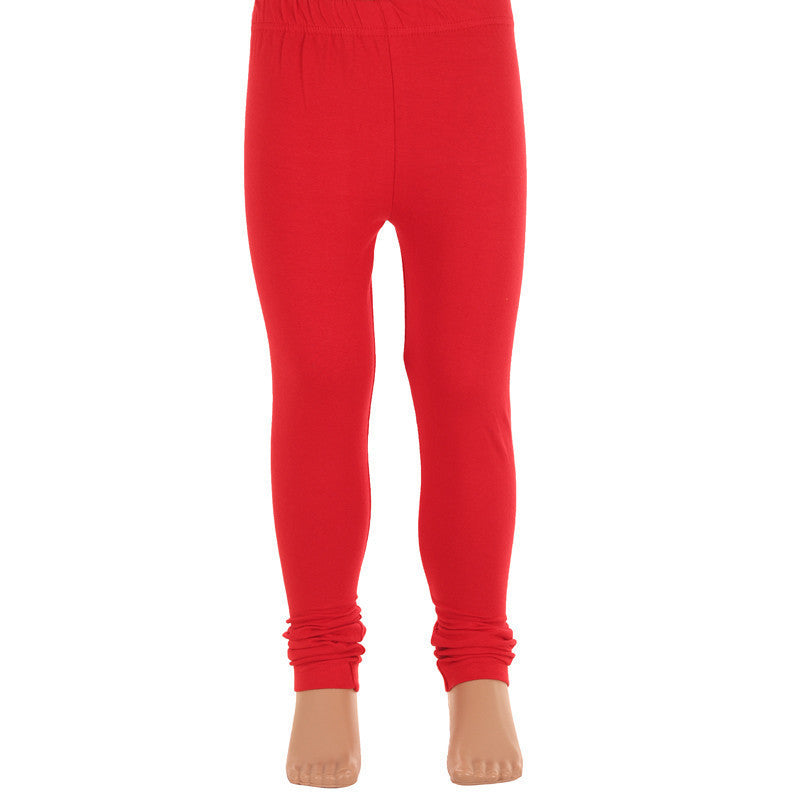 Kids Poppy Red Super Rich Finish Cotton Lycra Leggings From eSTYLe  Girls