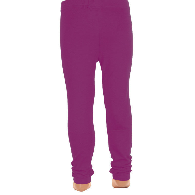 Purple Wine Super Rich Finish Cotton Lycra Leggings For Kids From eSTYLe Girls