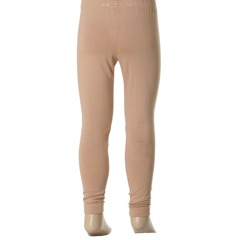 Mild Caramel Super Rich Finish Cotton Lycra Leggings For Kids from eSTYLe  Girls