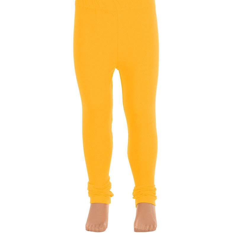 Bright Yellow Super Rich Finish Cotton Lycra Leggings For Kids from eSTYLe  Girls