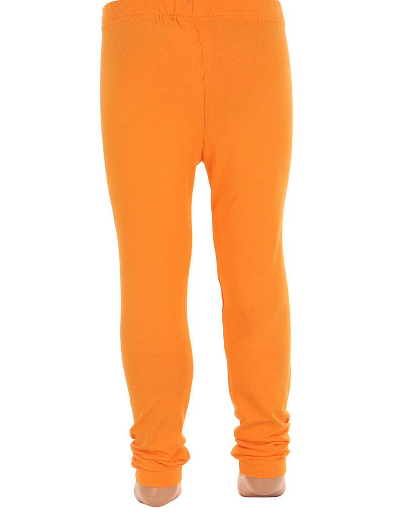Dawn Orange Super Rich Finish Cotton Lycra Leggings For Kids from eSTYLe  Girls