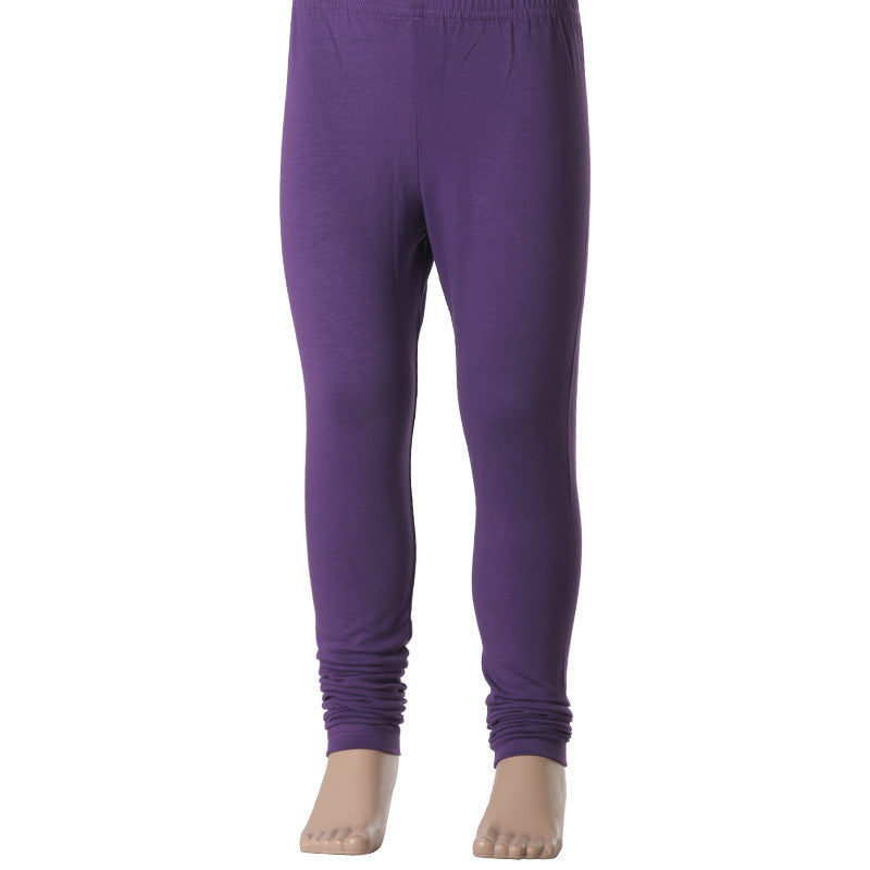 Kids 100% Bright Violet Colour Enrich Finished Cotton Lycra Leggings