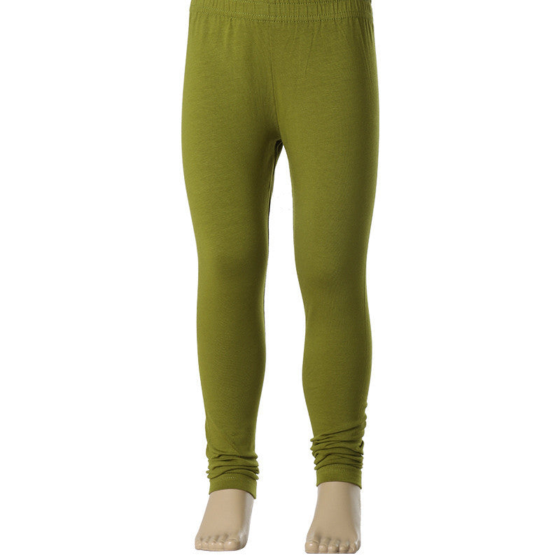 Dark Olive Green Super Rich Finish Cotton Lycra Leggings For Kids from eSTYLe  Girls