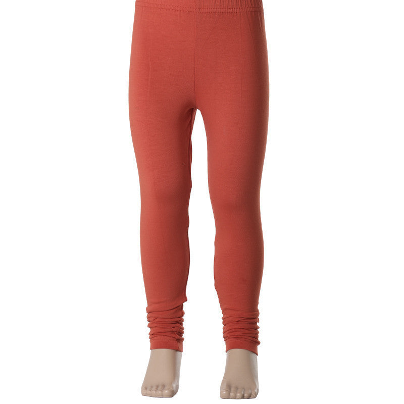 Kids Spicy Orange Enrich Finished Cotton Lycra Leggings From eSTYLe Girls