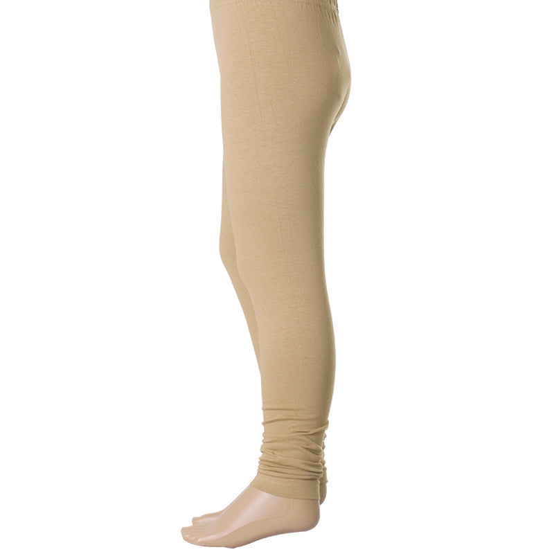 Kids Estyle's  Enrich Finished Cotton Lycra Leggings In Beige Colour