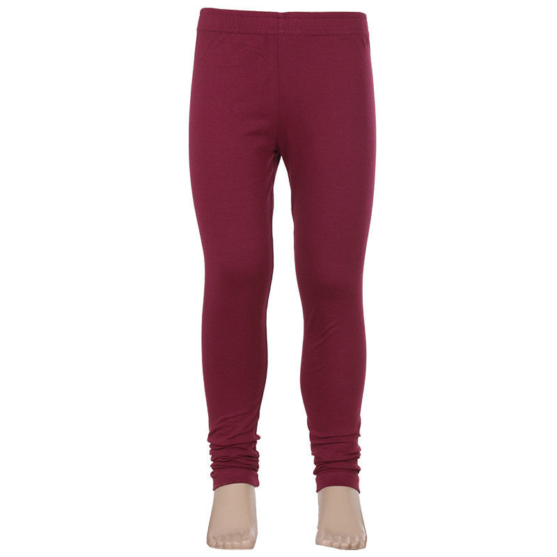 eSTYLe Girls Deep Claret Red Super Rich Solid Finish Lycra Cotton Kids Leggings