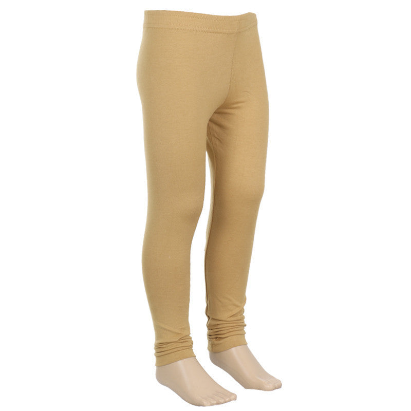 Natural Beige Colour Super Rich Finish Lycra Cotton Kids Leggings From eSTYLe Girls