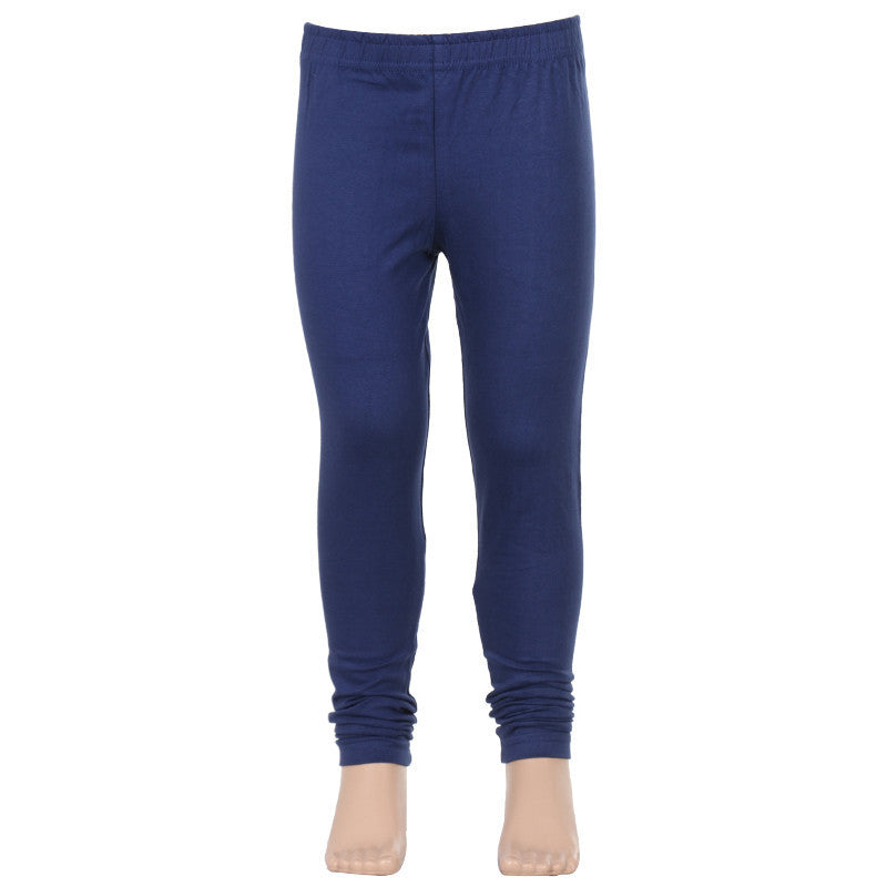 Medieval Blue Super Rich Finish Lycra Cotton Kids Leggings From eSTYLe Girls