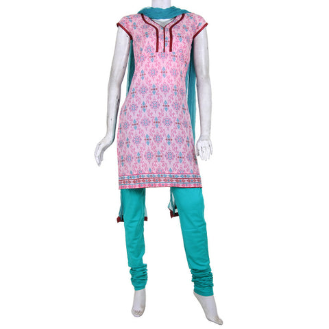 Cotton 3Pce Suit From eSTYLe - Light Pink Trendy Kurta, Chudi And Dupatta