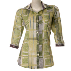 Stylish Printed Cotton Tops From eSTYLe In Lime Green