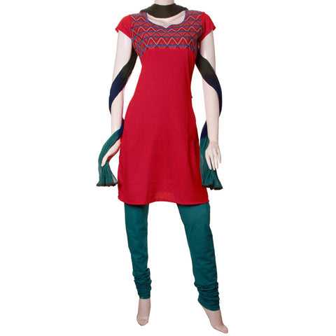 3pce Suit - Dobby Cotton Kurta With Embroidered Yoke , Chudi And Dupatta From eSTYLe