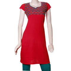 Chinese Red Kurta With Embroidered Cuff From eSTYLe