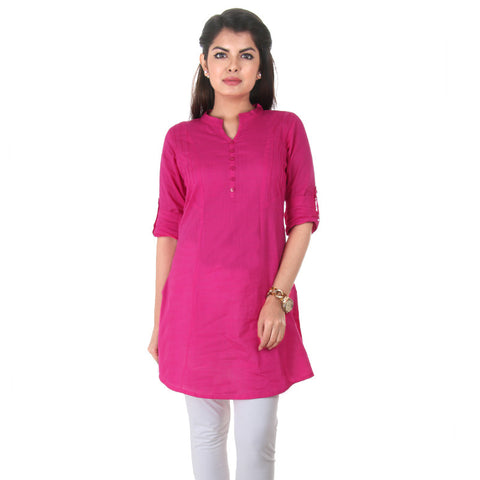 eSTYLe Deep Hot Pink Elegant Short Kurti With Fold up Sleeves