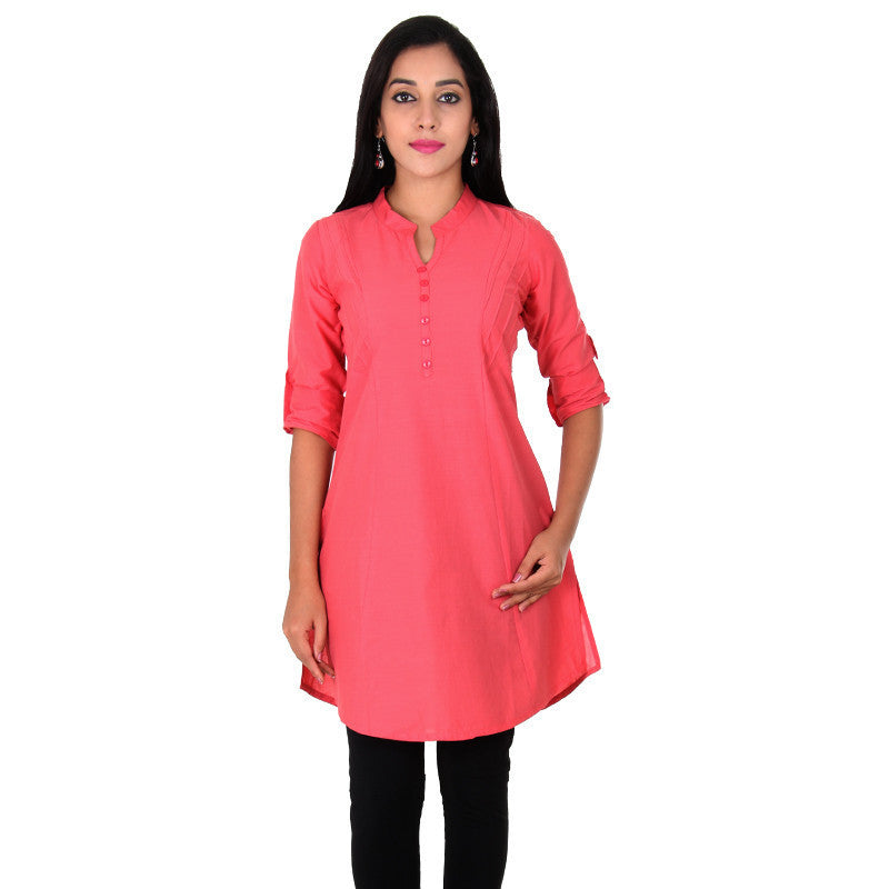 eSTYLe Mauvewood Rose Elegant Short Kurti With Fold up Sleeves