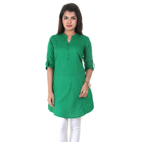 eSTYLe Divinie Green Elegant Short Kurti With Fold up Sleeves