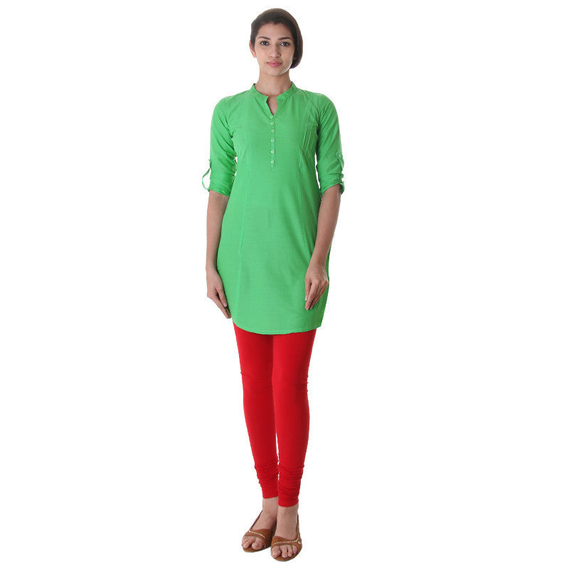 eSTYLe Poisson Green  Elegant Short Kurti With Fold up Sleeves