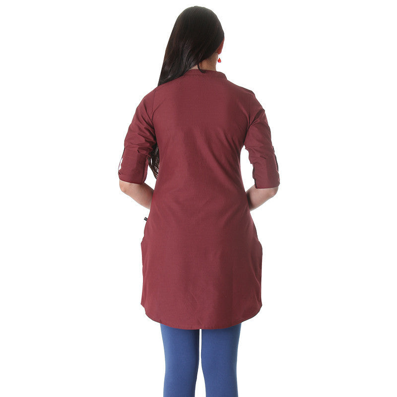 Ruby Wine Elegant Short Kurti With Fold up Sleeves