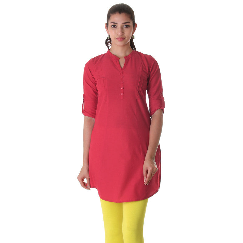 Chinese Red Elegant Short Kurti From eSTYLe With Pin Tucked Side Pannels