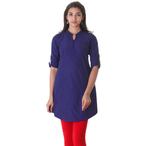 Twilight Blue Chinese Collar Short Kurti With Closed Placket From eSTYLe