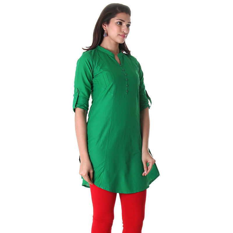 eSTYLe Dark Green Elegant Short Kurti With Pin Tucked Side Pannels.