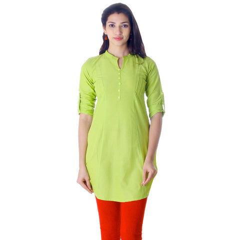 eSTYLe Green Glow Elegant Short Kurti With Fold up Sleeves