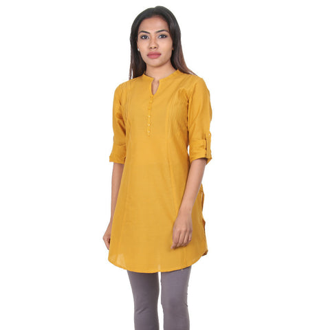 eSTYLe Amber Gold Elegant Short Kurti With Pin Tucked Side Pannels