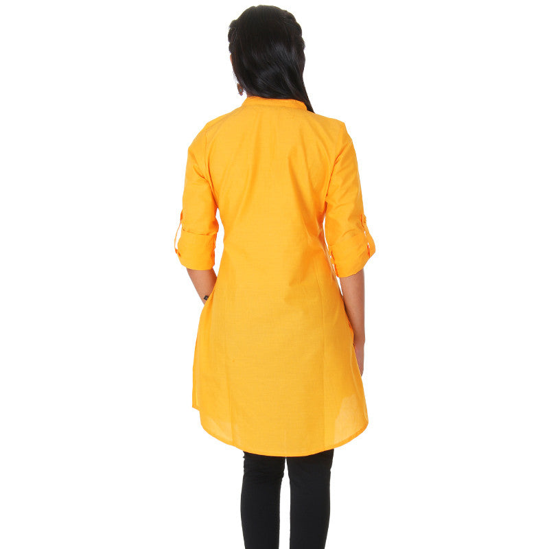 eSTYLe Banana Yellow Elegant Short Kurti With Fold up Sleeves