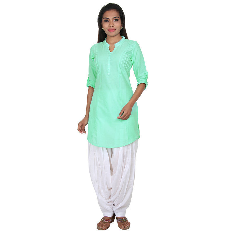 Opal Green Cotton Kurta With Fold-Up Sleeves