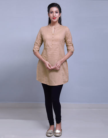 Brown Chinese Collar Short Kurti With Closed Placket From eSTYLe