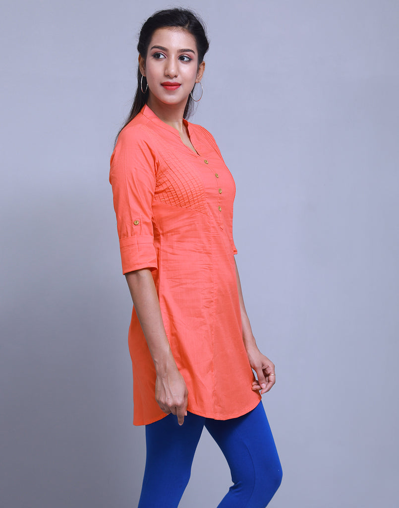 Poppy Red Chinese Collar Short Kurti With Closed Placket From eSTYLe