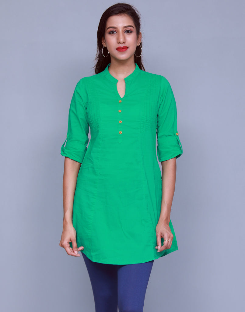 Pepper Green Chinese Collar Short Kurti With Closed Placket From eSTYLe