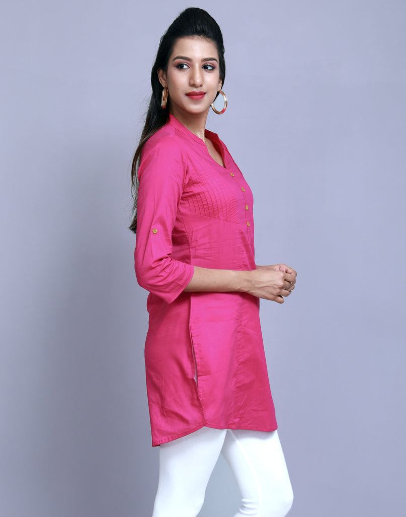 Lilac Rose Chinese Collar Short Kurti With Closed Placket From eSTYLe
