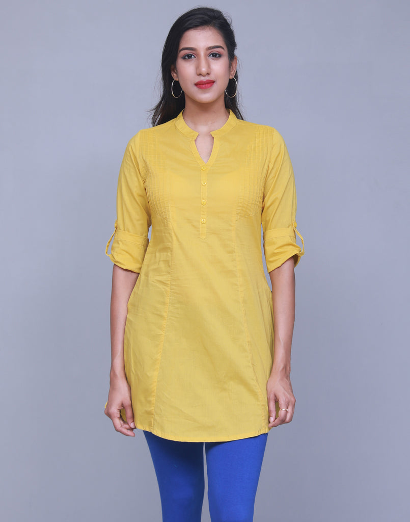 Celery Chinese Collar Short Kurti With Closed Placket From eSTYLe