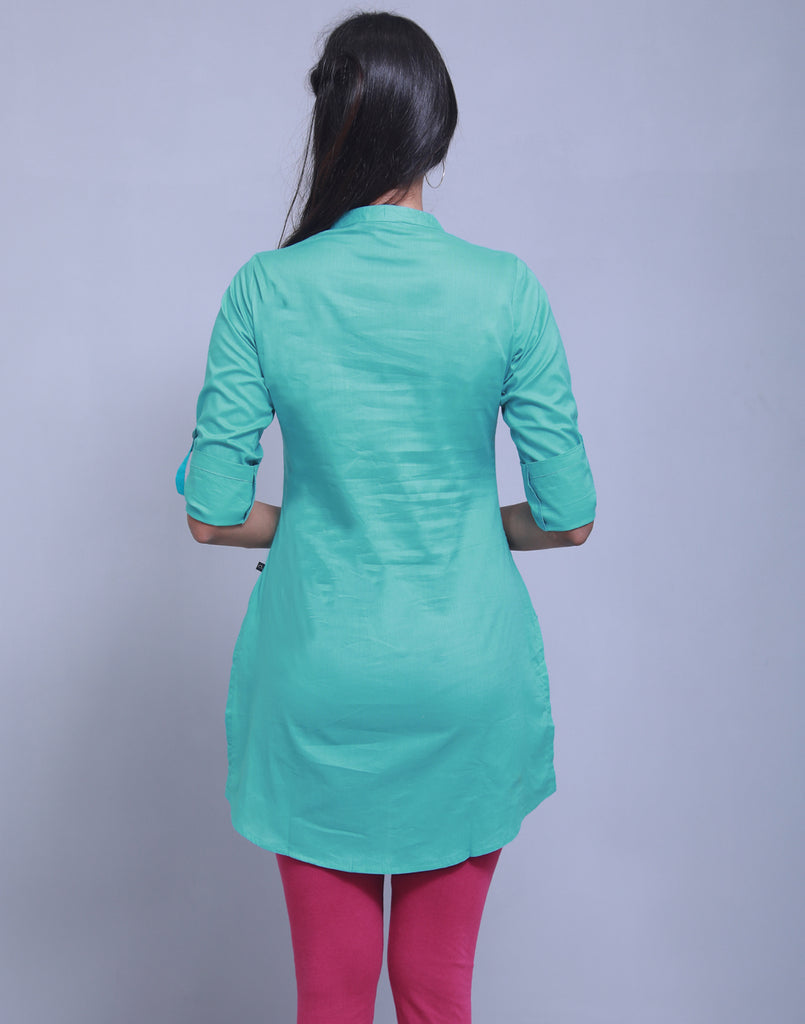 Viridian Green Chinese Collar Short Kurti With Closed Placket From eSTYLe